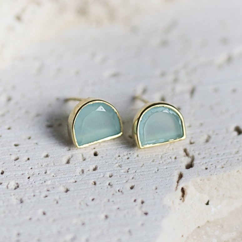 Half-Moon Bay Stud Earrings- Aqua Chalcedony