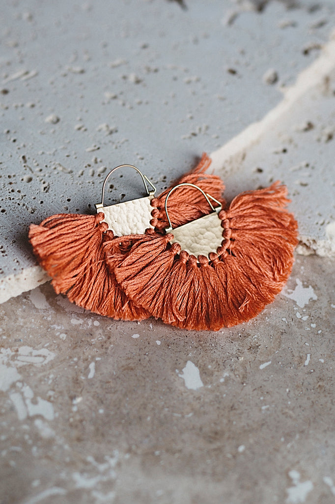 Favorite Fringe Earrings- Coral
