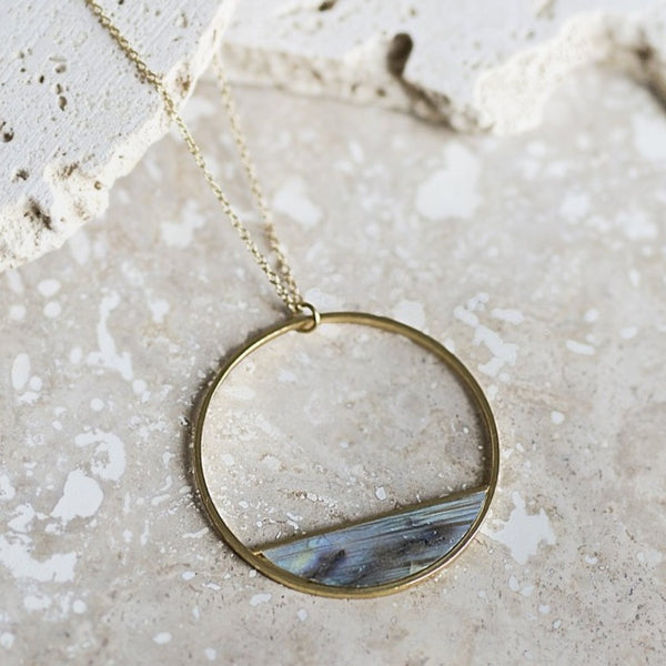 Half-Moon Bay Pendant Necklace- Labradorite