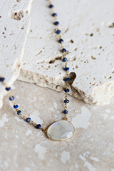 Elli Necklace- Lapis/Moonstone
