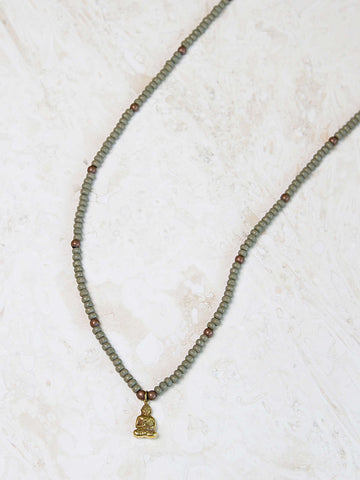 Tibetan Beaded Necklace- Olive