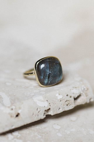 Clara Ring- Labradorite + Gold