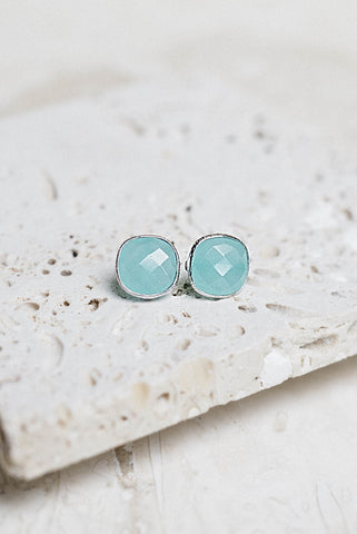 Lizzy Earrings- Aqua Chalcedony + Silver
