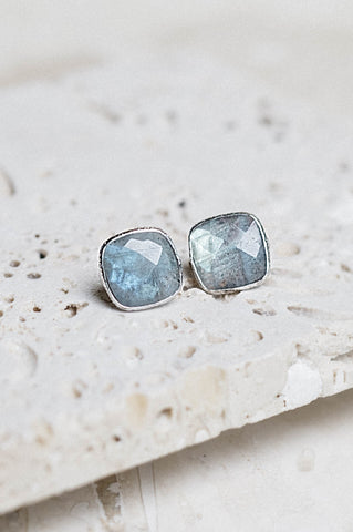 Lizzy Earrings- Labradorite + Silver
