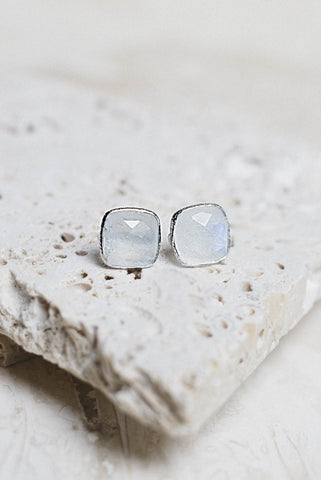 Lizzy Earrings- Moonstone + Silver