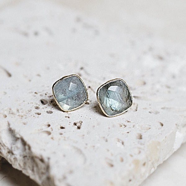 Lizzy Stud Earrings- Labradorite + Gold