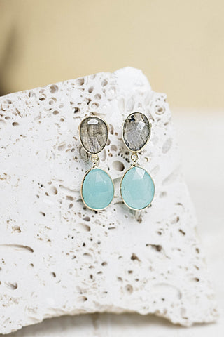 Patara Earrings- Aqua Chalcedony