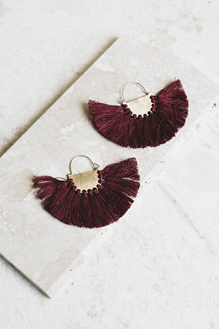 Favorite Fringe Earrings- Burgundy