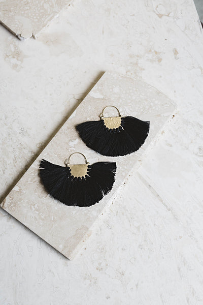 Favorite Fringe Earrings- Black