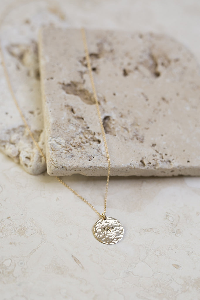 Personalized Hammered Disc Necklace