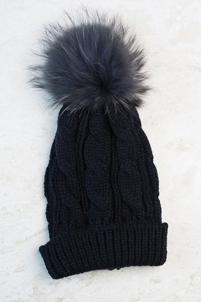 Fur Pom Hat - Black