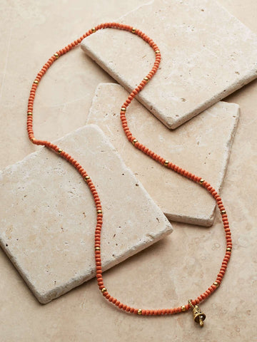 Tibetan Orange Beaded Necklace