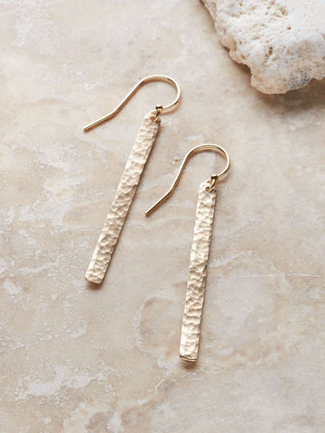 Hammered Matchstick Earrings