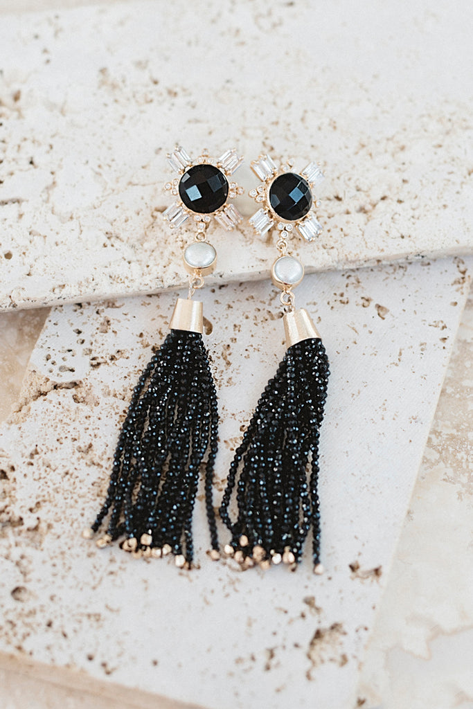 Veronique Tassel Earrings- Black