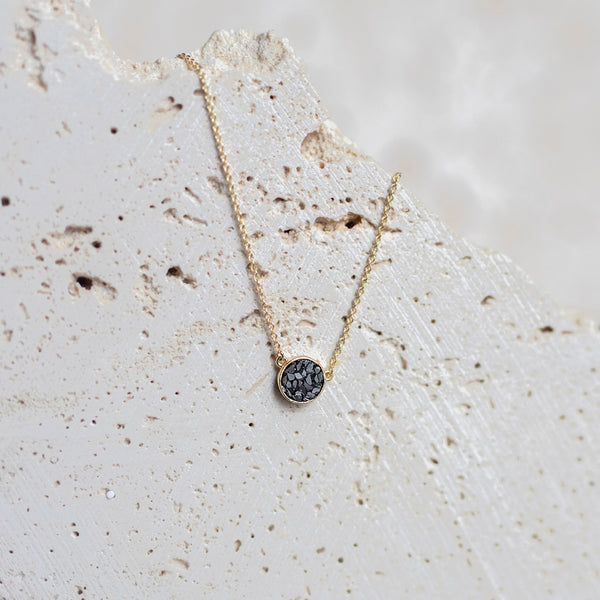 Deco Diamond Dot Necklace-Black
