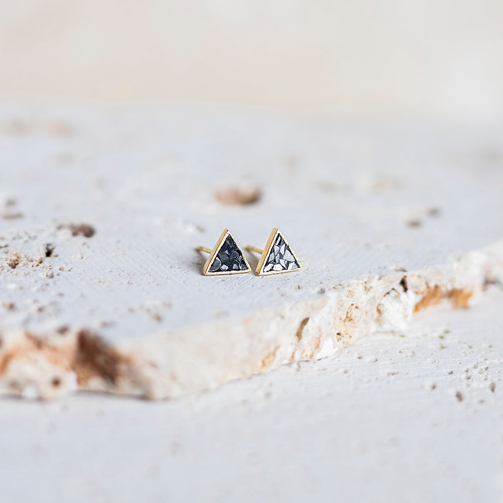 Deco Diamond Stud Earrings- Triangle