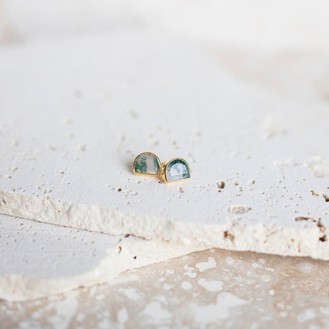 Half-Moon Bay Stud Earrings- Moss Agate
