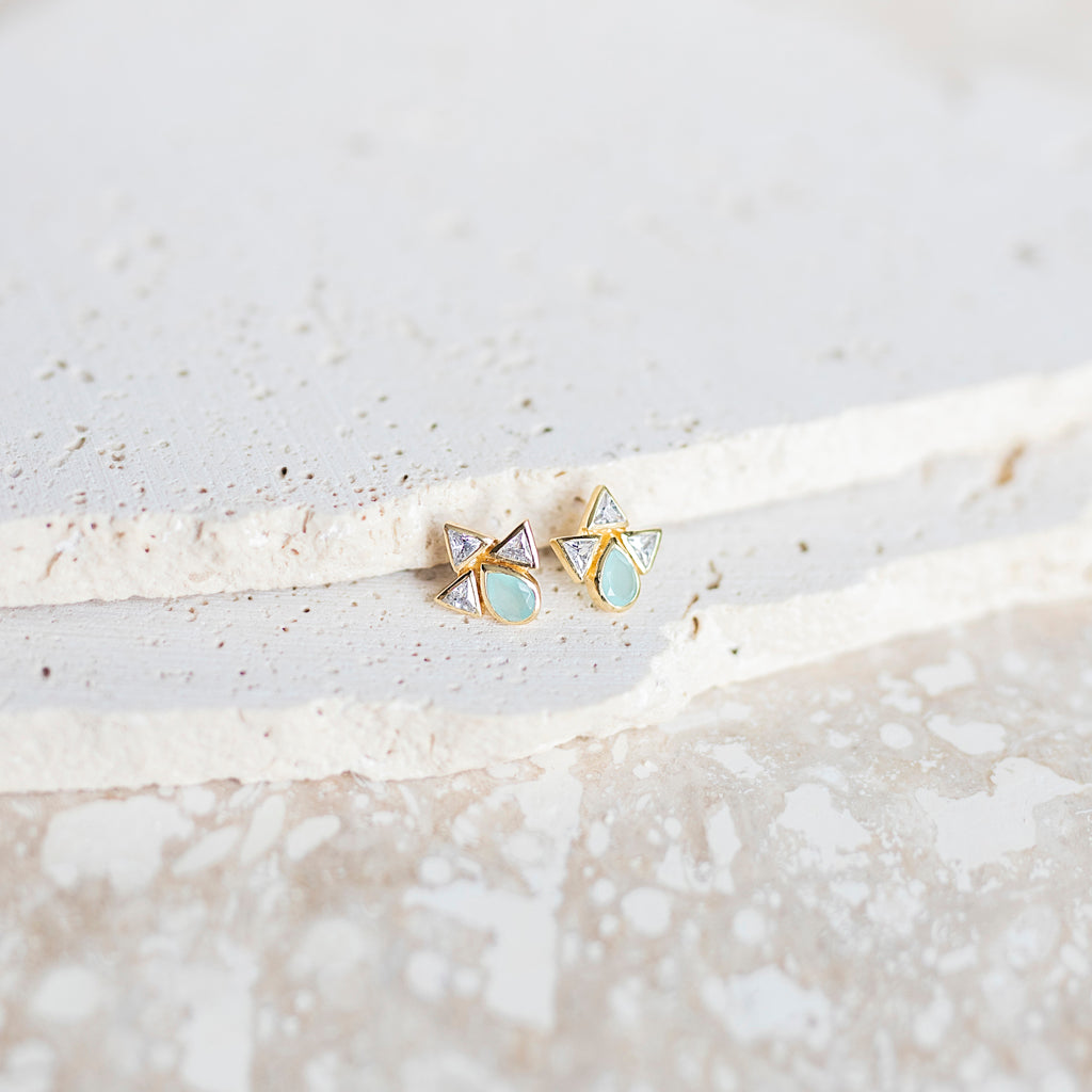 Galactic Stud Earrings- Aqua