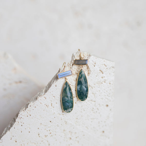 Moss Agate Teardrop Earrings