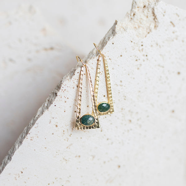 Laine Drop Earrings- Moss Agate