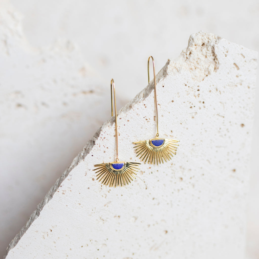Starburst Drop Earrings- Lapis