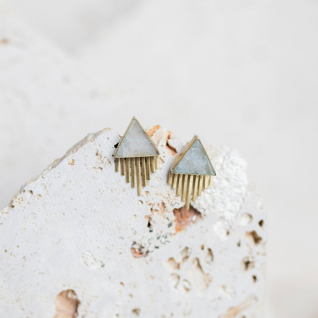 Joshua Tree Stud Earrings- Moonstone
