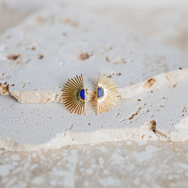 Starburst Stud Earrings- Lapis