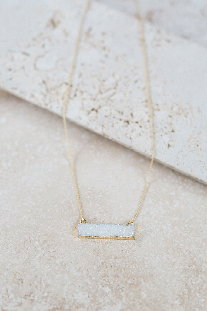 Horizontal Druzy Bar Necklace