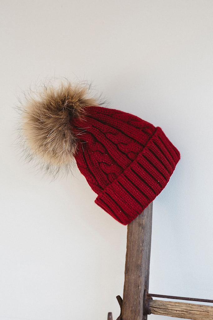 Fur Pom Hat - Red – Collections by Joya 248e207a666