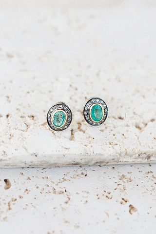 Kristin Stud Earrings- Emerald