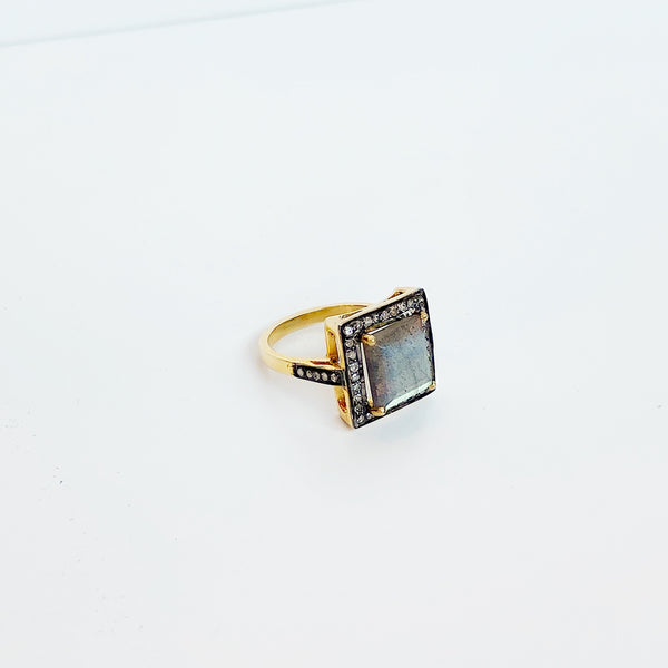 Labradorite and Diamond Square Ring