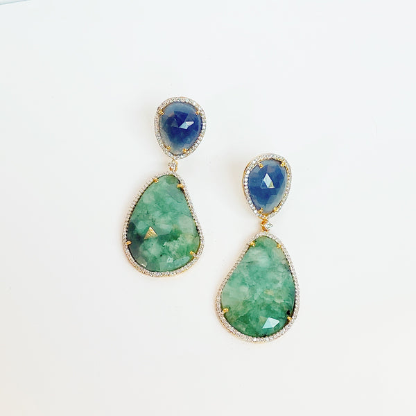 Sapphire Two Stone Drop Earrings- Green and Blue