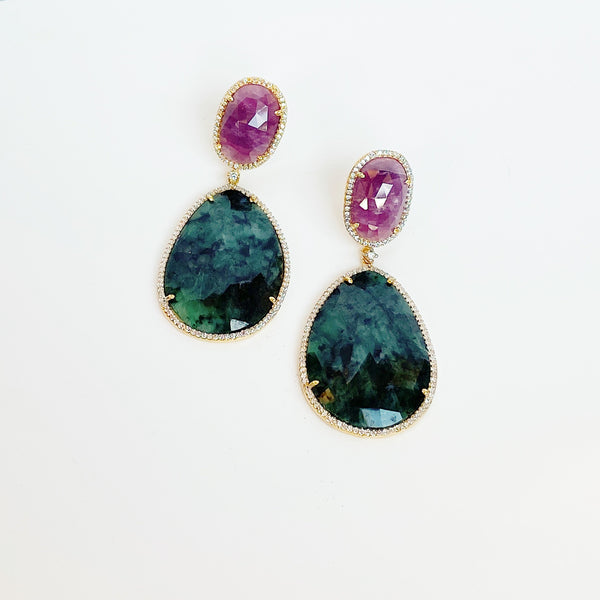 Sapphire Two Stone Drop Earrings- Green and Pink