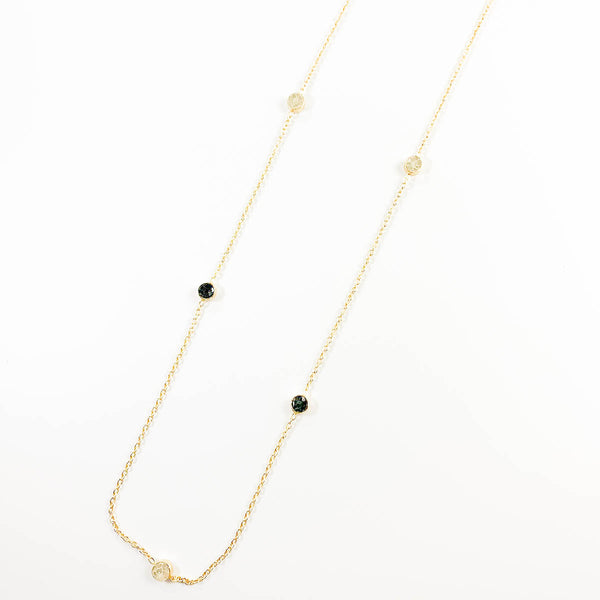 Deco Diamond White and Black Dot Necklace