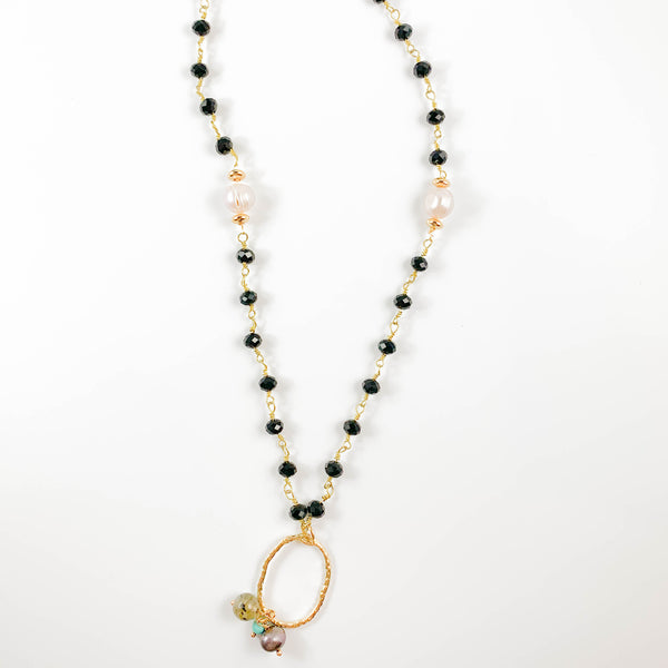 Black Onyx Beaded Necklace with Oval Charm