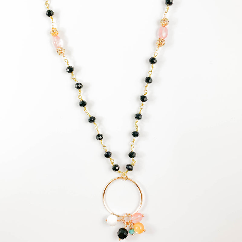Black Onyx Multi Color Beaded Necklace