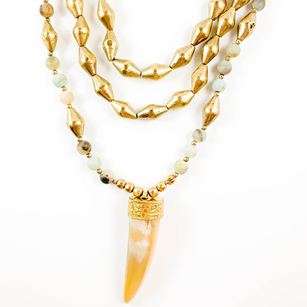 Long Gold Horn Wrap Necklace