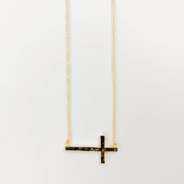 Black Deco Diamond Cross