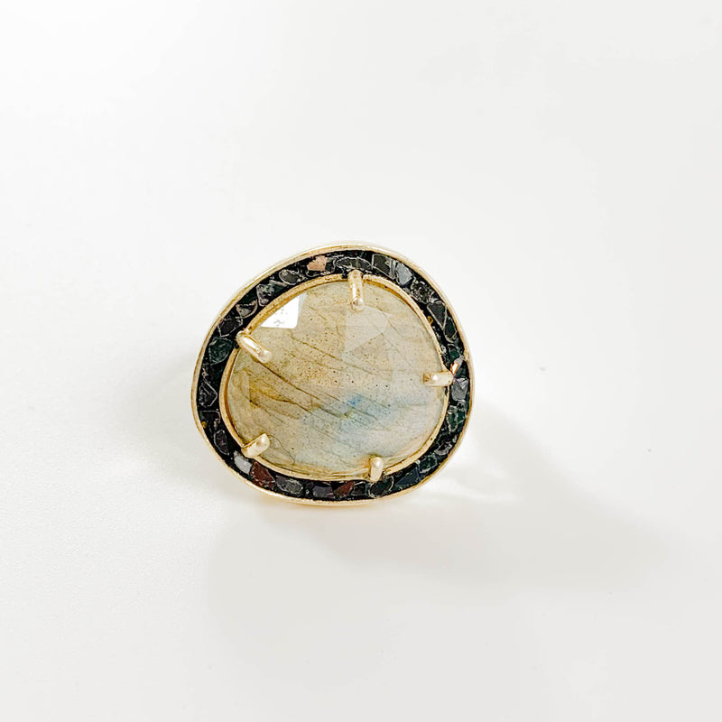 Large Labradorite and Black Deco Diamond Cocktail Ring - size 7