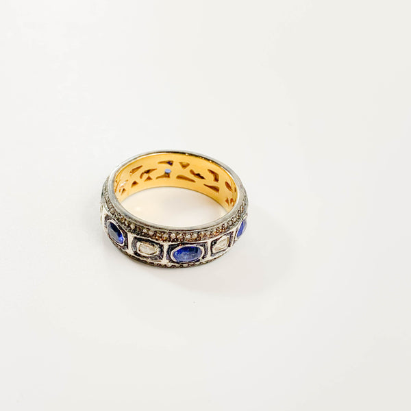 Sapphire and Polki Diamond Eternity Band - size 7