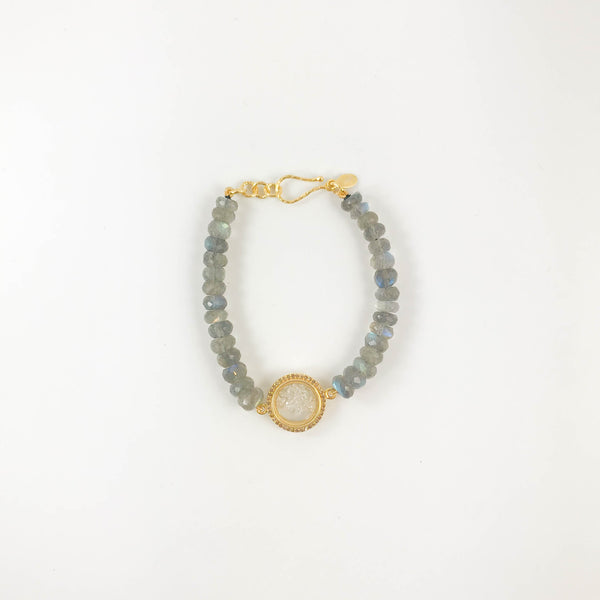 Pave Diamond Shaker Bracelet with Labradorite Beads