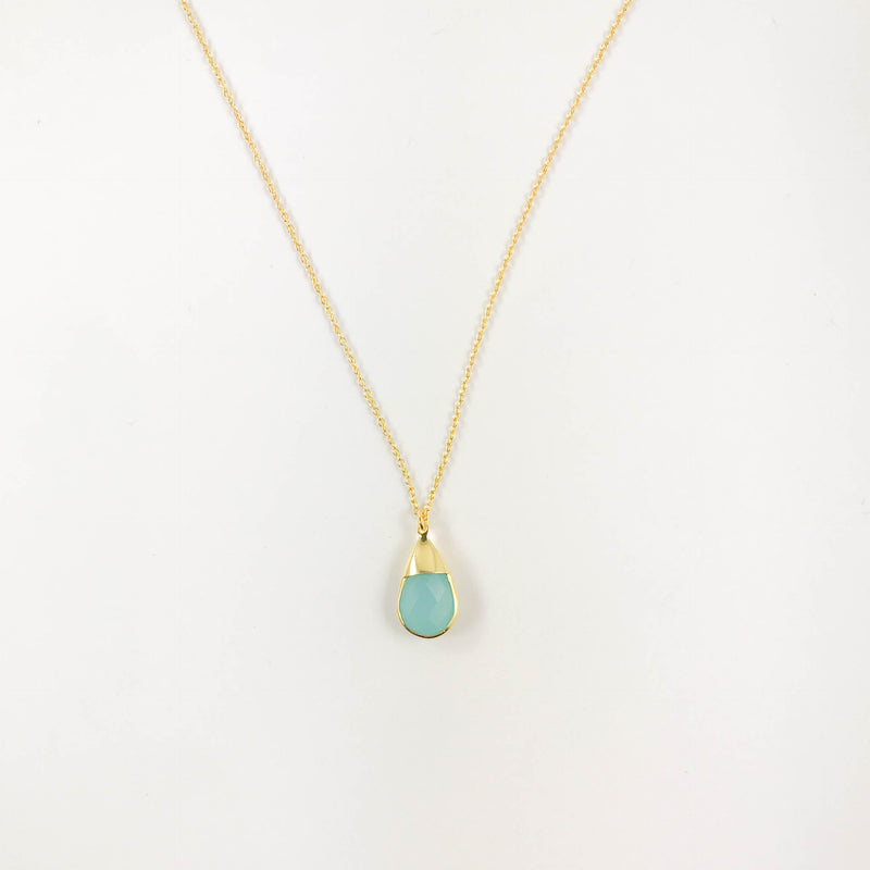 Small Aqua Teardrop Necklace