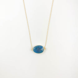 Oval Teal Blue Necklace