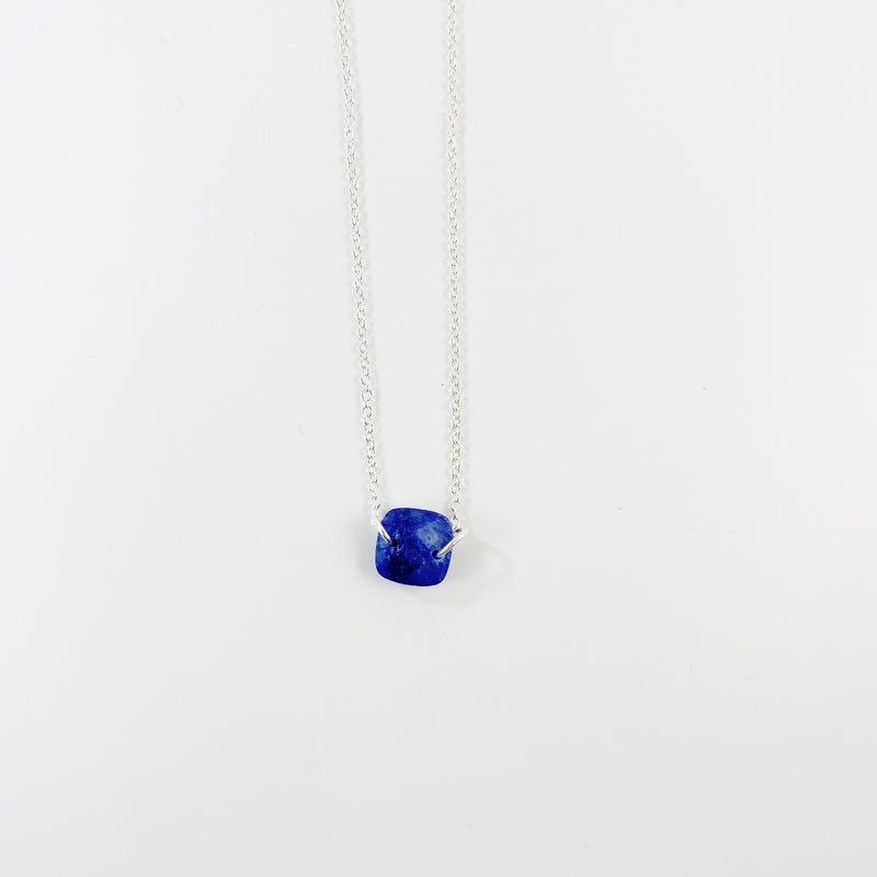 Gemstone Pendant Necklace Blue Silver