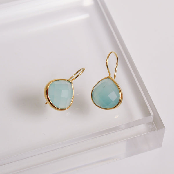 Turks and Caicos Earrings - Gold / Aqua Chalcedony