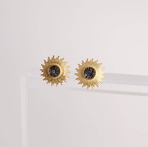 Katherine Stud Earrings - Black Deco Diamond