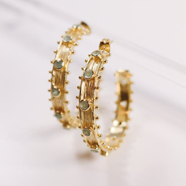 PREORDER- Etruscan Hoop Earrings- Aqua Chalcedony