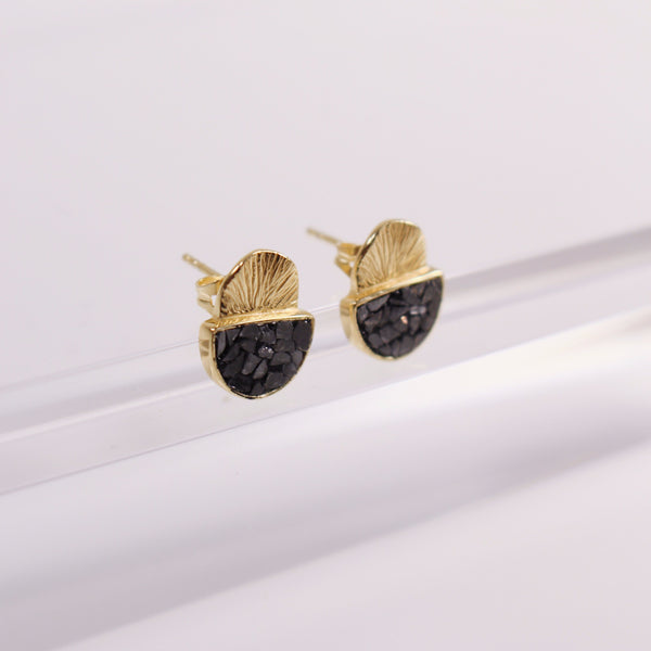 Laine Stud Earrings - Black Deco Diamond