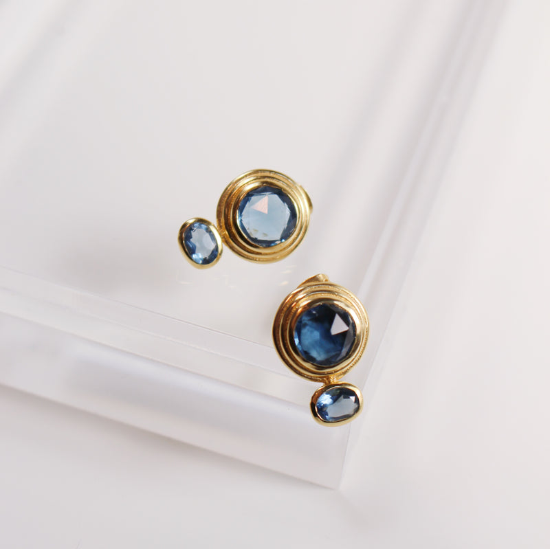 Claire Stud Earrings - Blue Iolite