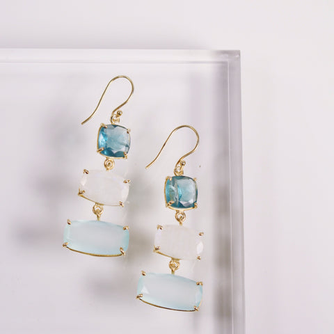 Piran Earrings - Aqua Chalcedony